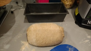 dough shapped - it was very very soft, surprising as wholemeal at 70% hydration should not be quite so